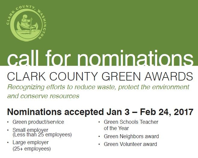 Clark County Green Awards - Call for Nominations!